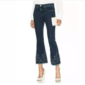 Rag & Bone 31 Crop Flare Embroidered Jeans Frayed